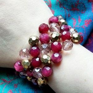 Cranberry pink bead bracelet wide elastic gold